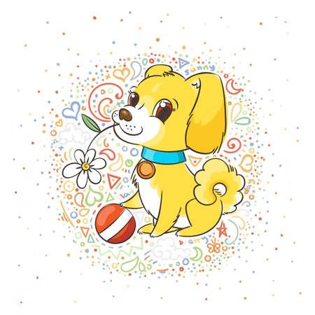 Happy golden cartoon puppy. Cute little dog wearing collar. Vector illustration on patterned background. Illustration