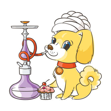 Happy golden cartoon puppy smoking hookah in turban. Cute little dog wearing collar. Vector illustration.