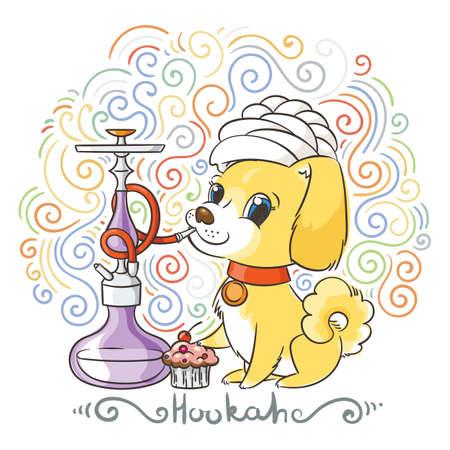 Happy golden cartoon puppy smoking hookah in turban. Cute little dog wearing collar. Vector illustration on patterned background. Illustration