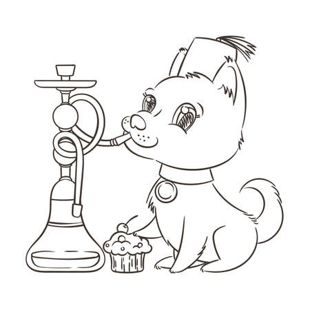 Happy golden cartoon puppy smoking hookah in turban. Cute little dog wearing collar. Vector illustration.