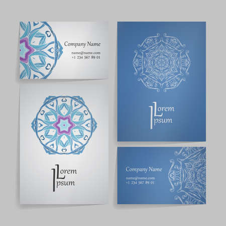 Design collection with mandala symbols. Set of business cards with circle ornament. Vector tribal ethnic decoration.