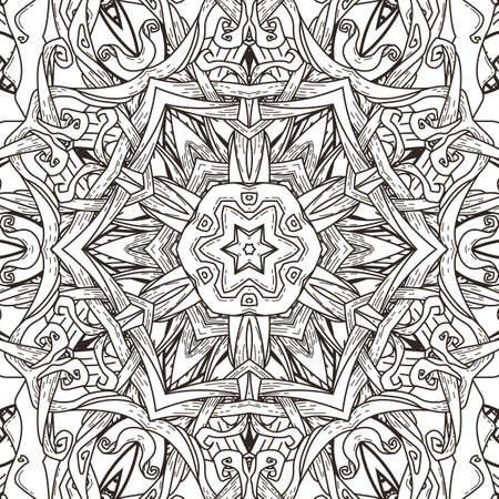 A Vector seamless pattern in mandala style. Endless ornate ornament for coloring books