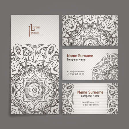 Design collection with mandala symbols. Set of business cards with circle ornament. Vector tribal ethnic decoration