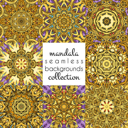 Set of vector seamless patterns in mandala style. Collection of endless ornate ornaments Stock Illustratie