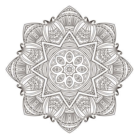 Mandala. Abstract decorative background. Islam, Arabic, oriental, indian, ottoman, yoga motifs. Vector illustration for coloring pages Illustration