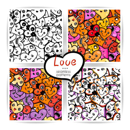 Seamless heart backgrounds with emoji to the Saint Valentine's day. Vector pattern set. Stock Vector - 92573332