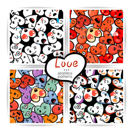 Seamless heart backgrounds with emoji to the Saint Valentine's day. Vector pattern set Stock Vector - 92607284