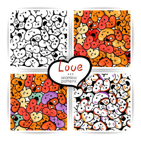 Set of seamless heart backgrounds with emoji to the Saint Valentine's day. Stock Vector - 92607369