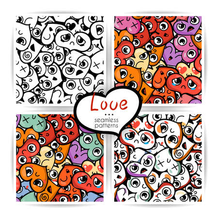 Seamless heart backgrounds with emoji to the Saint Valentine's day. Vector pattern set. Stock Vector - 92662188