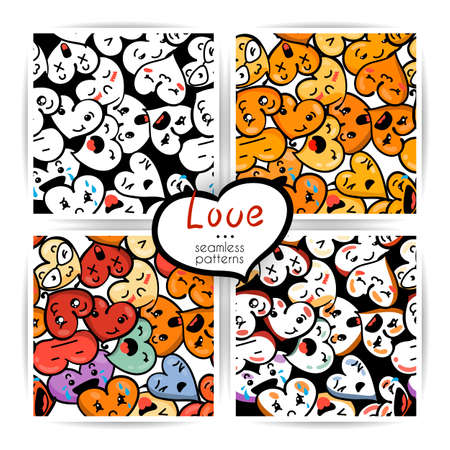 Seamless heart backgrounds with emoji to the Saint Valentine's day. Vector pattern set Stock Vector - 92777707