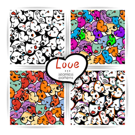 Seamless heart backgrounds with emoji to the Saint Valentines day. Vector pattern set Illustration