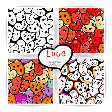 Seamless heart backgrounds with emoji to the Saint Valentines day. Vector pattern set. Illustration