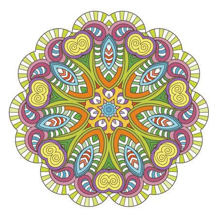 Flower vector mandala. Oriental circle pattern, coloring illustration. Illustration