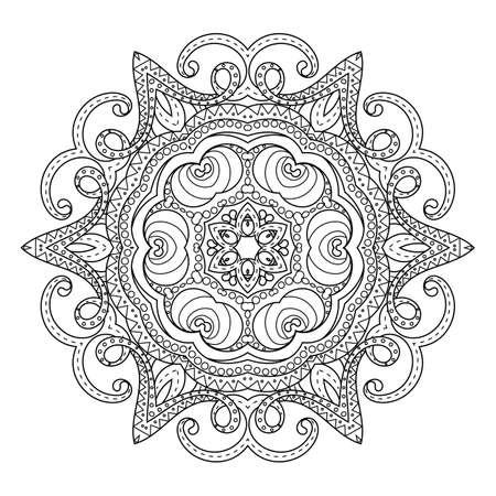 Flower vector mandala. Oriental circle pattern, coloring illustration. Islam, turkish, pakistan, indian, chinese, arabic, ottoman ornate motif