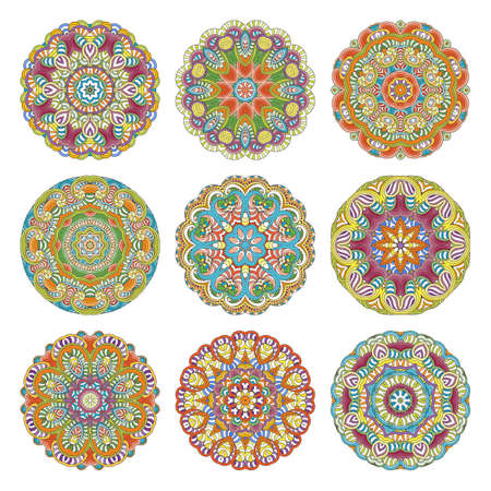 Flower vector mandalas set. Collection of oriental circle patterns, coloring illustrations. Islam, turkish, pakistan, indian, chinese, arabic, ottoman ornate motifs Vectores