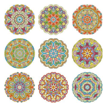 Flower vector mandalas set. Collection of oriental circle patterns, coloring illustrations. Islam, turkish, pakistan, indian, chinese, arabic, ottoman ornate motifs Illustration