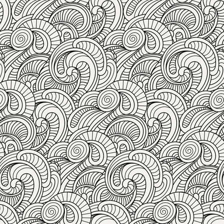 Doodle decorative ornamental curly vector seamless pattern. Cozy cute background for coloring pages Illustration