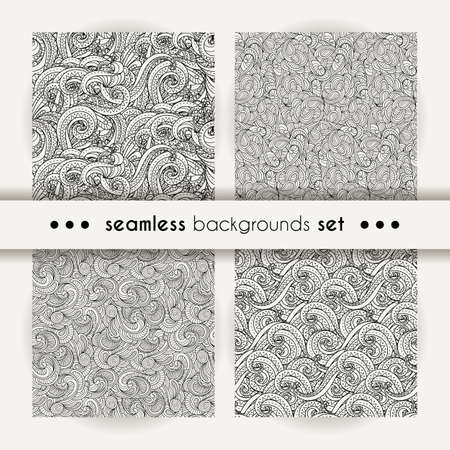 Set of doodle decorative ornamental curly vector seamless patterns. Collection of cozy cute backgrounds for coloring pages