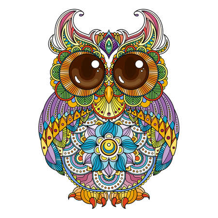 Vector zen doodle ornate owl illustration. Cute patterned funny bird. Picture for coloring pages, printing and anti-stress books.