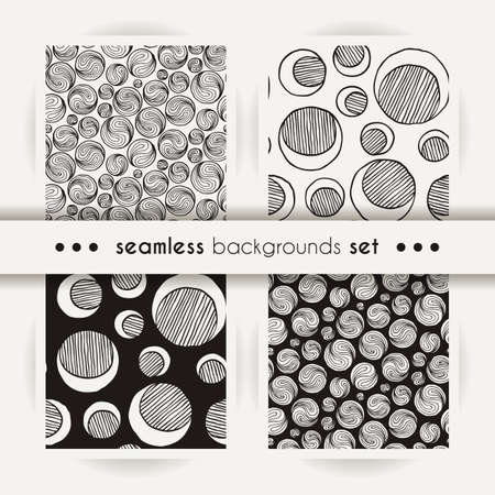 Set of seamless doodle prints of moons or ing-yang. Vector abstract endless arts design textures