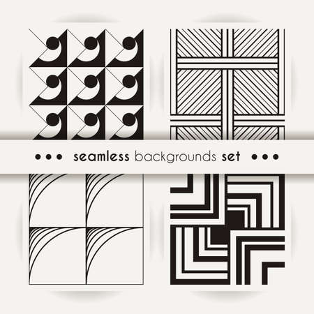 Set of seamless square patterns. Abstract stripes and spiral endless backgrounds. Vector regular textures for prints