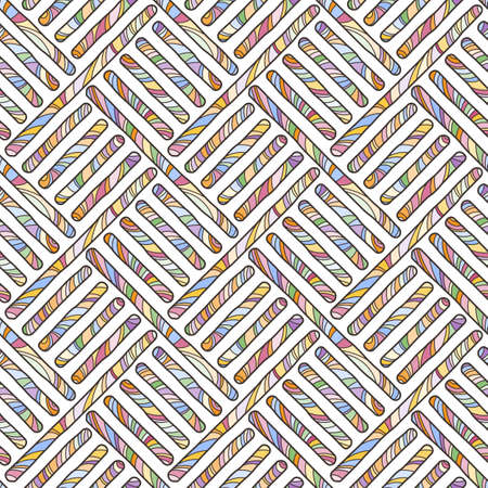 Funky doodle seamless pattern. Vector abstract decorative braided background with ornate ornament Illustration