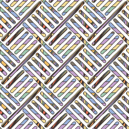 Funky doodle seamless pattern. Vector abstract decorative braided background with ornate ornament Vettoriali