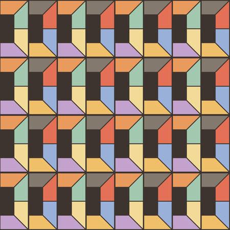 Seamless square pattern. Abstract stripes endless background. Vector regular texture for prints Ilustração