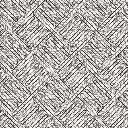 Funky doodle seamless pattern. Vector abstract decorative braided background with ornate ornament 일러스트
