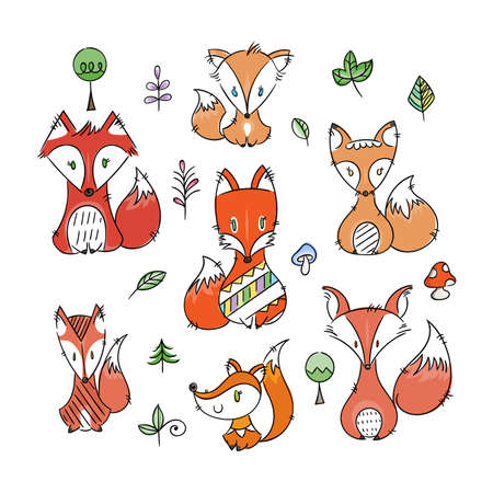 Set of cute doodle foxes in simple flat style. Isolated vector Scandinavian illustrations collection