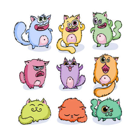 Cutest doodle monster cats. Vector elements collection. Striped animals Illustration