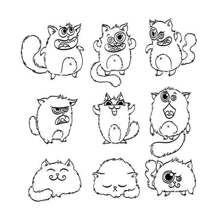 Cute doodle monster cats. Vector elements collection.