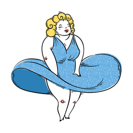 Pretty plump woman posing like a SuperStar. Pinup illustration. Vector image