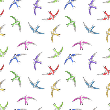 Flying bird seamless pattern. Playing swifts in the sky. Vector image