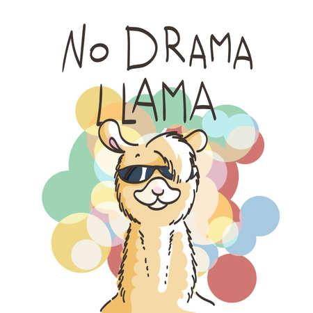 Cute card with cartoon llama. Motivational and inspirational quote. Doodling illustration. No drama, llama Illustration