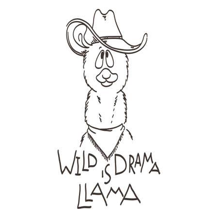 Lindo Cartão Com Lama Dos Desenhos Animados Citação