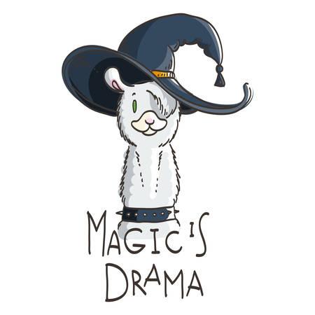 Cute card with cartoon llama. Motivational and inspirational quote, doodling illustration. Magic is drama, llama.
