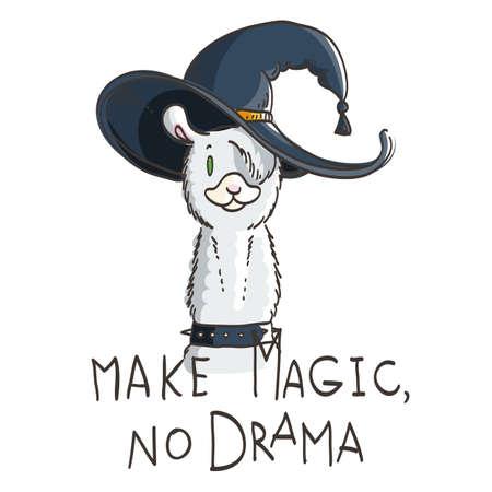 Cute card with cartoon llama. Motivational and inspirational quote. Doodling illustration. Make magic, no drama, llama Vectores