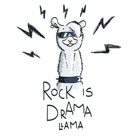 Cute card with cartoon llama. Motivational and inspirational quote, doodling illustration. Rock is drama, llama.