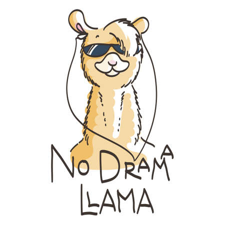 Cute card with cartoon llama. Motivational and inspirational quote, doodling illustration. No drama, llama.