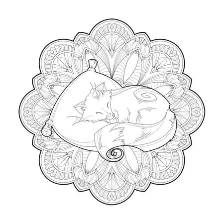 Image vector of a cute fox on a pillow isolated on a white background. Pet animal on mandala background. Stock Illustratie