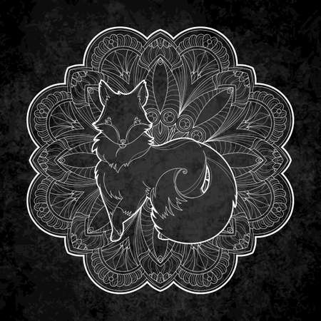 Vector image of a cute fox design isolated on a black background. Wild furry animal on mandala chalkboard background