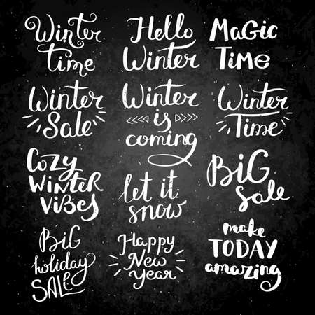 Winter collection. Set of hand drawn vector lettering phrases. Modern motivating calligraphy decor.