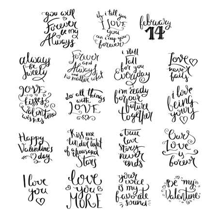 Love lettering collection. Inspirational vector hand drawn quote. Ink brush lettering isolated on white background.