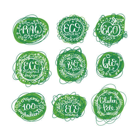 Eco vector organic labels, bio emblems for stickers and restaurants menu, natural products packaging. Gluten free, vegan, locally grown eco friendly stamps on blots, fresh raw healthy food, premium quality.
