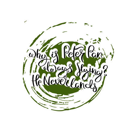 Why is Peter Pan always flying? He Neverlands. Hand drawn motivation quote. Creative vector typography concept for design and printing. Ready for cards, t-shirts, labels, stickers, posters.