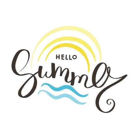 Hello Summer vector illustration ink background. Hand lettering inspirational typography for poster, banner, t-shirts and other prints. Fun quote with hipster design logo or label. Çizim