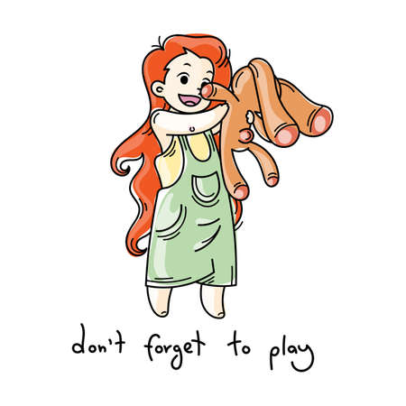 Do not forget to play. Cute cartoon kids. Vector and illustration.
