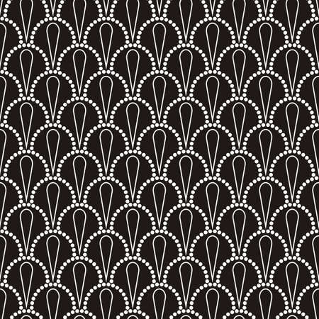 Vector abstract seamless wavy pattern with dotted geometrical fish scale layout with flowers. Textile print, page fill, batik, texture.