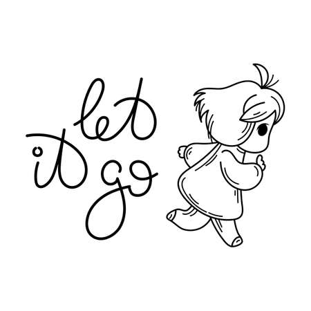 Let it go text with Cute cartoon kid vector illustration
